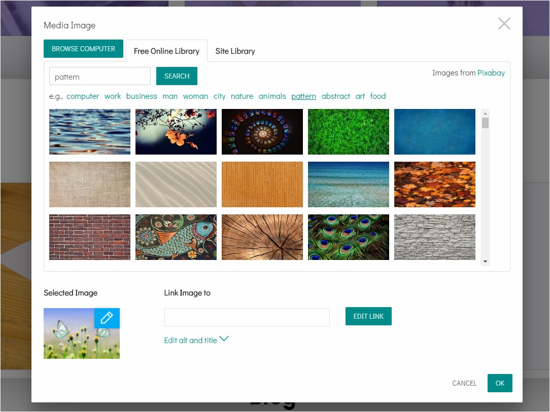 8b allows using sections with images and set images as a background. Also, you can use gallery and slider sections.