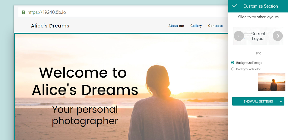 For example, if you want to create a website for some photographer, you can use the Photographer template.