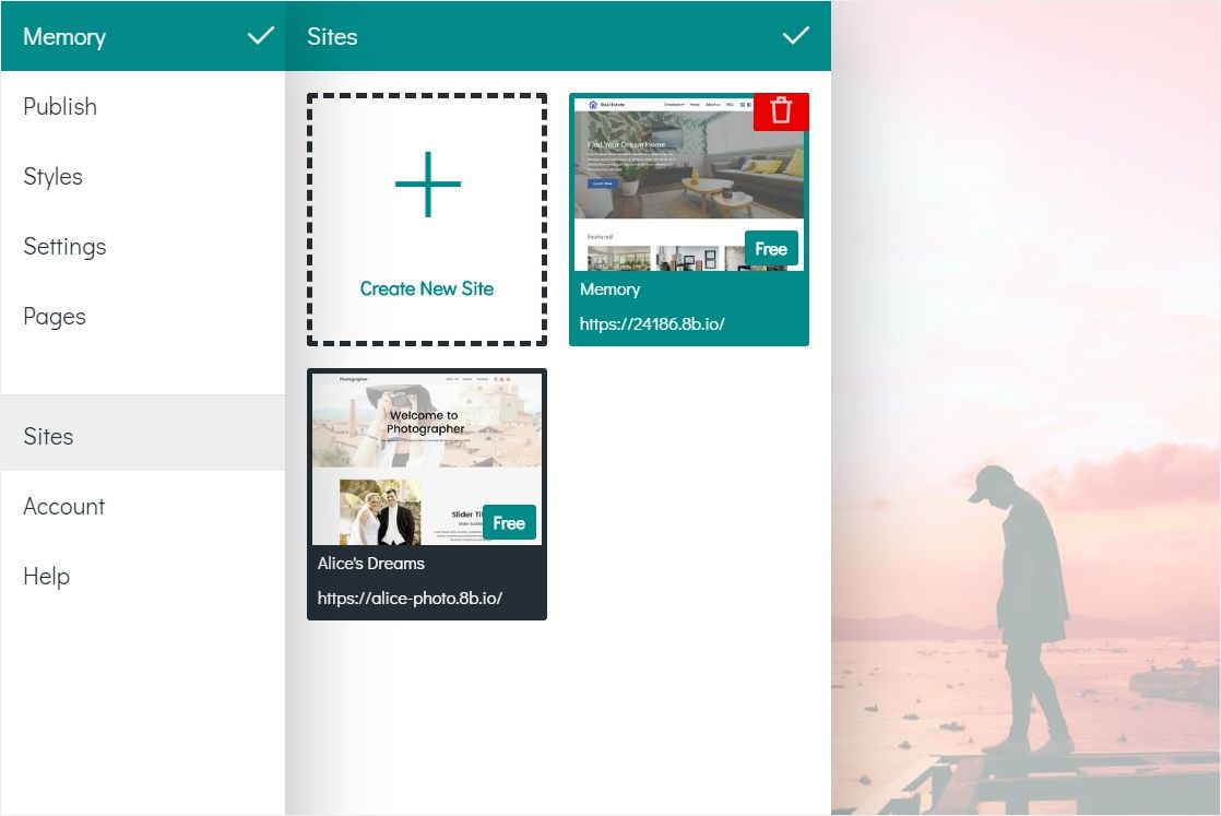 You can have up to 3 created sites in 8b. How to create a new website in 8b To create a new website: Open the main menu in the app.